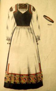Runsaasti kirjottu Tuutarin puku on lainattu suomalaiseen kansallispuvustoon. Kuvan puvussa on hieman erilainen kuviointi kuin on totuttu. Kansanpuku oli Kansan puku ja eli tekijänsä mukaan.